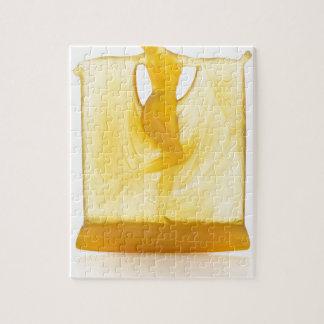 Quebra-cabeça Estátua de vidro do art deco amarelo de um