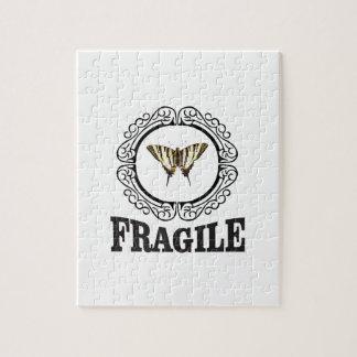 Quebra-cabeça Etiqueta frágil da borboleta