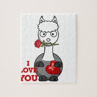 Quebra-cabeça eu te amo alpaca