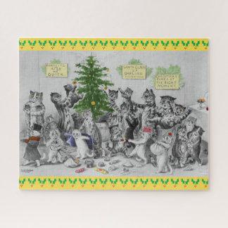 Quebra-cabeça Festa de Natal dos gatos de Louis Wain do vintage