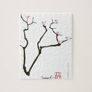 Quebra-cabeça flor de sakura e pássaros cor-de-rosa, fernandes