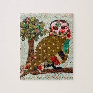 Quebra-cabeça floral da coruja cor-de-rosa