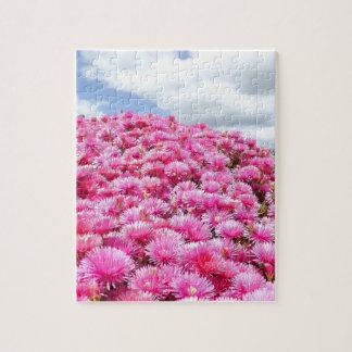 Quebra-cabeça flores bonitas nas nuvens inchado do sol