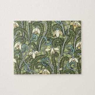 Quebra-cabeça Flores florais de Nouveau Snowdrop da arte do