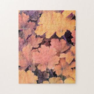 Quebra-cabeça folha colorida do outono