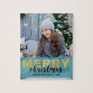 Quebra-cabeça Foto azul do Feliz Natal do ouro moderno -