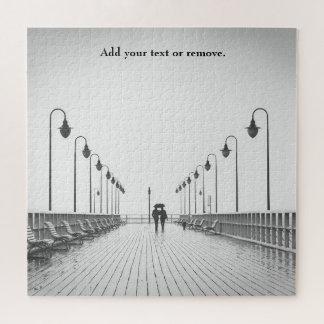 Quebra-cabeça Foto, casal que anda na chuva em um passeio à