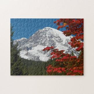 Quebra-cabeça Foto das folhas de outono do Monte Rainier