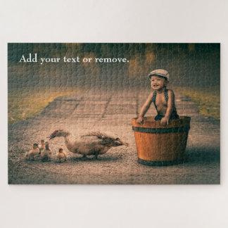 Quebra-cabeça Fotografia do estilo do vintage: menino da criança
