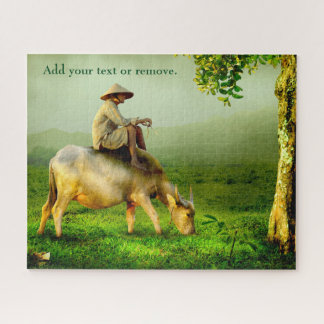 Quebra-cabeça Fotografia do pastor asiático que senta-se em um