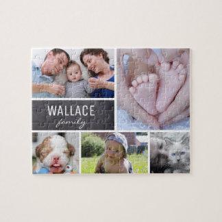 Quebra-cabeça Fotos com nome de família, 5 imagens da colagem