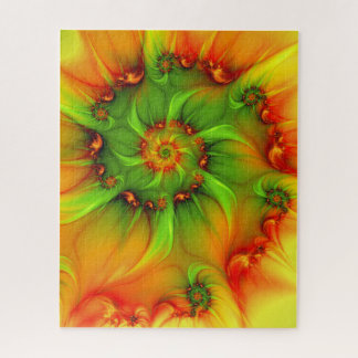 Quebra-cabeça Fractal colorido do abstrato quente da laranja do