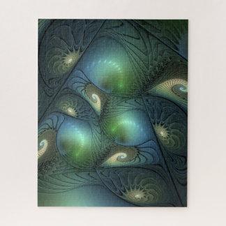 Quebra-cabeça Fractal verde bege de turquesa das espirais legal