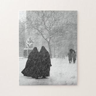 Quebra-cabeça Freiras na neve