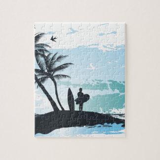 Quebra-cabeça Fundo do surfista do verão da palma
