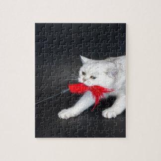 Quebra-cabeça Gato branco que joga puxando o brinquedo vermelho