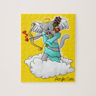 Quebra-cabeça Gato cinzento do Cupido de Smokey do dia dos