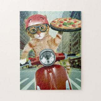 Quebra-cabeça gato da pizza - gato - entrega da pizza