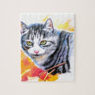 Quebra-cabeça Gato listrado cinzento