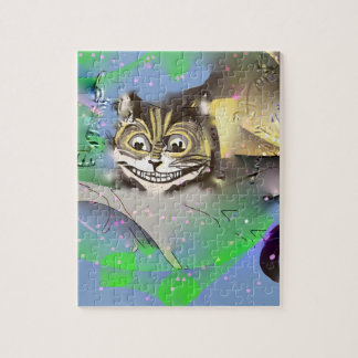 Quebra-cabeça Gato surreal de Cheshire que desvanece-se no fundo