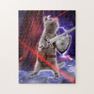 Quebra-cabeça gatos do guerreiro - gato do cavaleiro - laser do