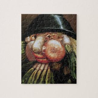 Quebra-cabeça Giuseppe Arcimboldo; O quitandeiro verde, vegetais