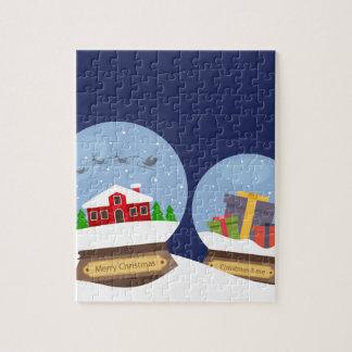 Quebra-cabeça Globos da neve do Natal e presente de Papai Noel