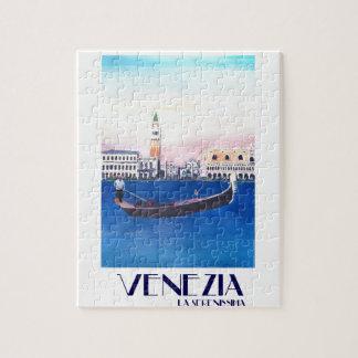 Quebra-cabeça Gôndola de Veneza Italia no canal grande com San