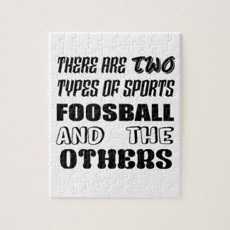 Quebra-cabeça Há dois tipos de esportes Foosball e outro