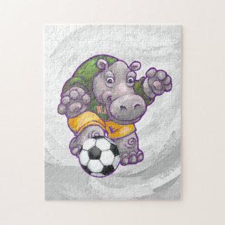Quebra-cabeça Hipopótamo que joga o futebol