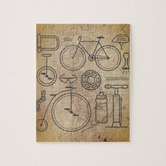 Quebra-cabeça Ícones dos fundamentos do mapa e do ciclismo do