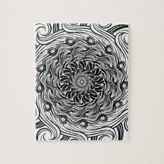 Quebra-cabeça Ilusão óptica do Doodle ornamentado do zen preto e