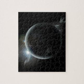 Quebra-cabeça ilustração preta do planeta 3d no universo