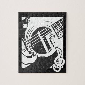 Quebra-cabeça Jogo da guitarra do melómano preto e branco