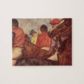 Quebra-cabeça Jóqueis por Edgar Degas, arte da corrida de