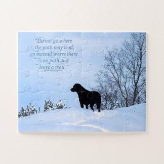 Quebra-cabeça Labrador preto - citações 2 da vida do trajeto