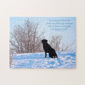 Quebra-cabeça Labrador preto - citações da vida do trajeto
