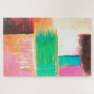 Quebra-cabeça Laranja de Brown do rosa da pintura de paisagem da