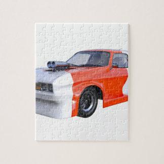 Quebra-cabeça Laranja e carro de competência branco