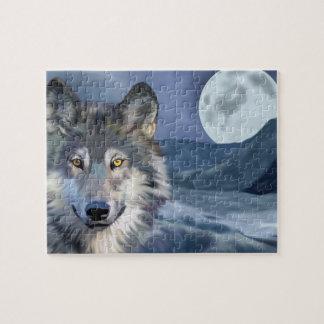 Quebra-cabeça Lobo bonito da cena do inverno