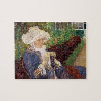 Quebra-cabeça Lydia que Crocheting no jardim em margoso, Mary