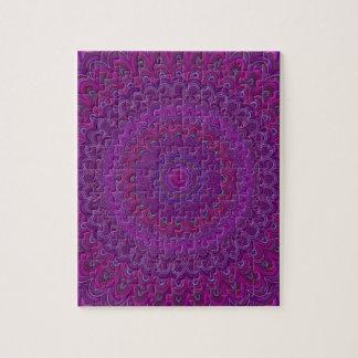 Quebra-cabeça Mandala roxa da flor