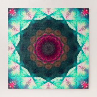 Quebra-cabeça Mandala verde e cor-de-rosa bonito