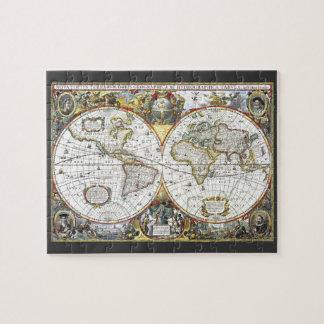 Quebra-cabeça Mapa do mundo antigo por Hendrik Hondius, 1630