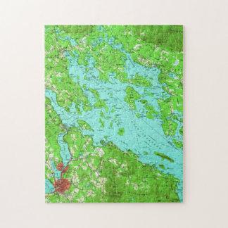 Quebra-cabeça Mapa do vintage do lago Winnipesaukee (1956)