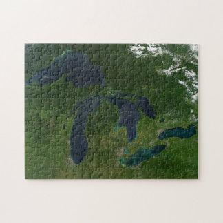 Quebra-cabeça Mapa dos grandes lagos.