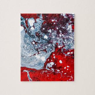 Quebra-cabeça Mármore vermelho e azul do espaço