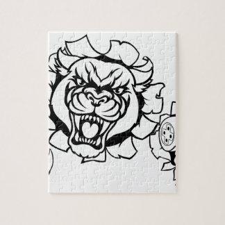 Quebra-cabeça Mascote irritada de Esports do Gamer da pantera