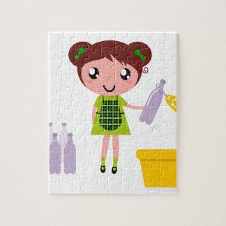 Quebra-cabeça Menina artística pequena com garrafa