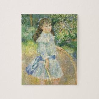Quebra-cabeça Menina com a aro por Pierre Renoir, belas artes do